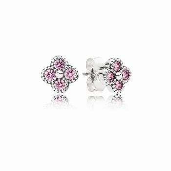 Oriental Blossom Stud Earrings, Pink CZ 290647PCZ