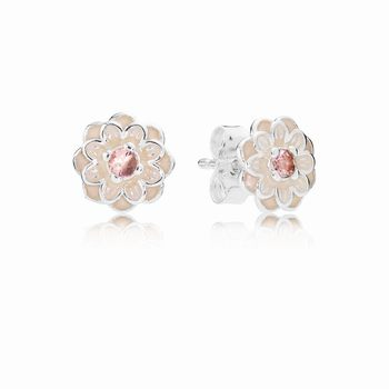 Pandora Blooming Dahlia Stud Earrings, Cream Enamel & Blush Pink