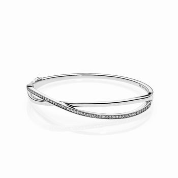 Pandora Entwined Bangle Bracelet, Clear CZ 590533CZ