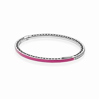 Radiant Hearts of PANDORA Bangle Bracelet, Radiant Orchid Enamel