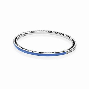 Radiant Hearts of PANDORA Bangle Bracelet, Princess Blue Enamel