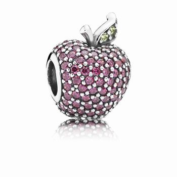 Red Pave Apple Charm, Fancy Red CZ & Green Crystal 791485CFR